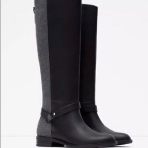 Zara Black Grey Knee High Riding Boots Size 6